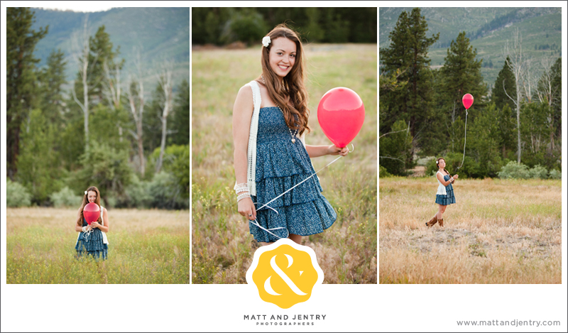teenage girl with a red balloon in a field - all american colors