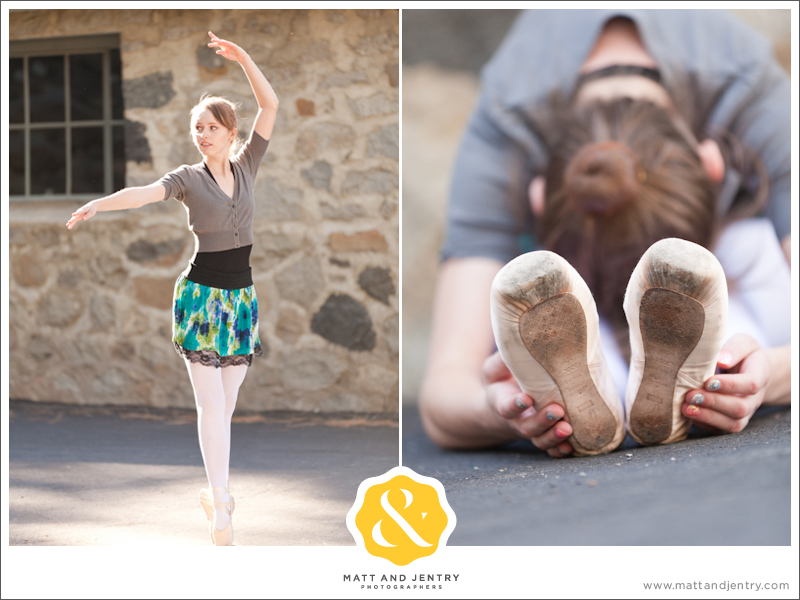 Teen Portrait at Galena Creek Park - girl doing ballet and stretching
