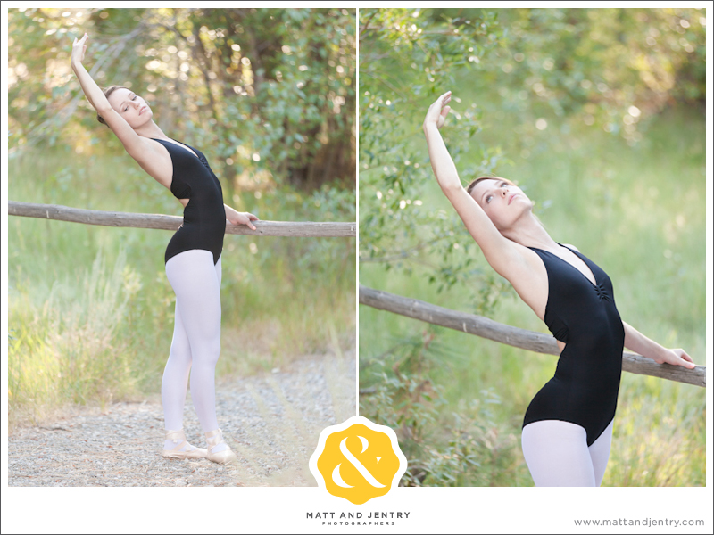Teen Portrait at Galena Creek Park - girl doing ballet on bar