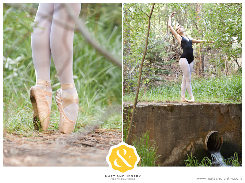Teen Portrait at Galena Creek Park - girl doing ballet in woods