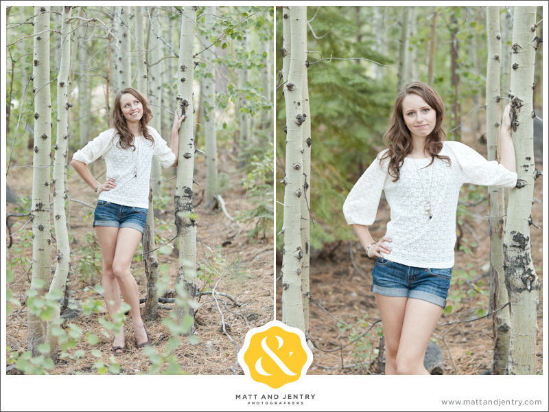 Teen Portrait at Galena Creek Park - girl smiling by aspen trees