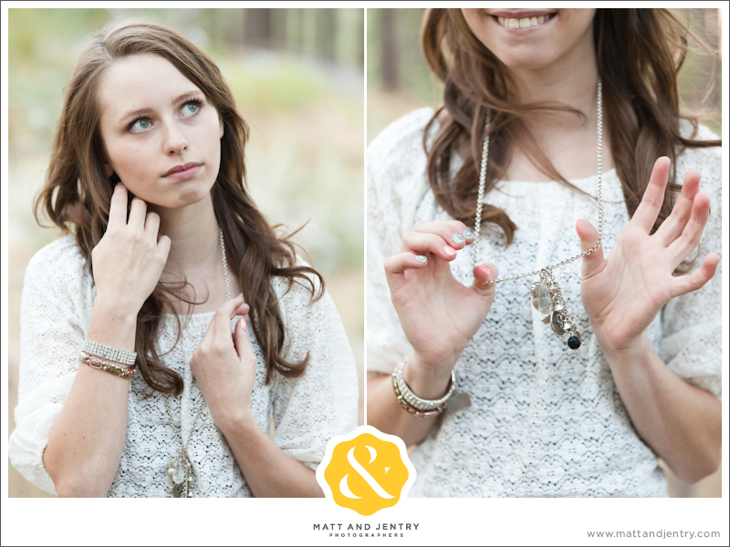 Teen Portrait at Galena Creek Park - girl holding her necklace