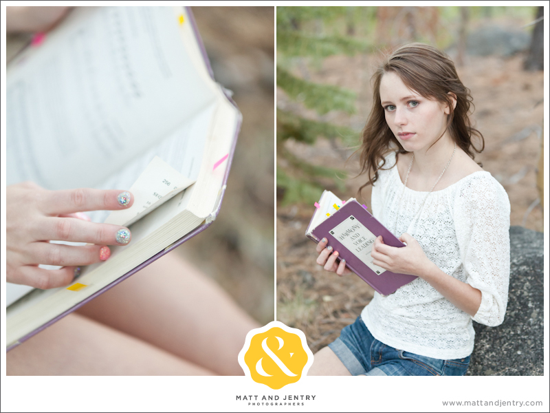 Teen Portrait at Galena Creek Park - girl reading book and book details
