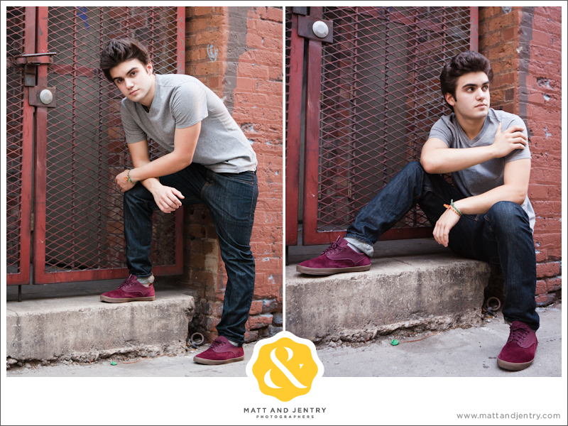 Senior Portraits in Reno at West Street Market in alley way in front of gate