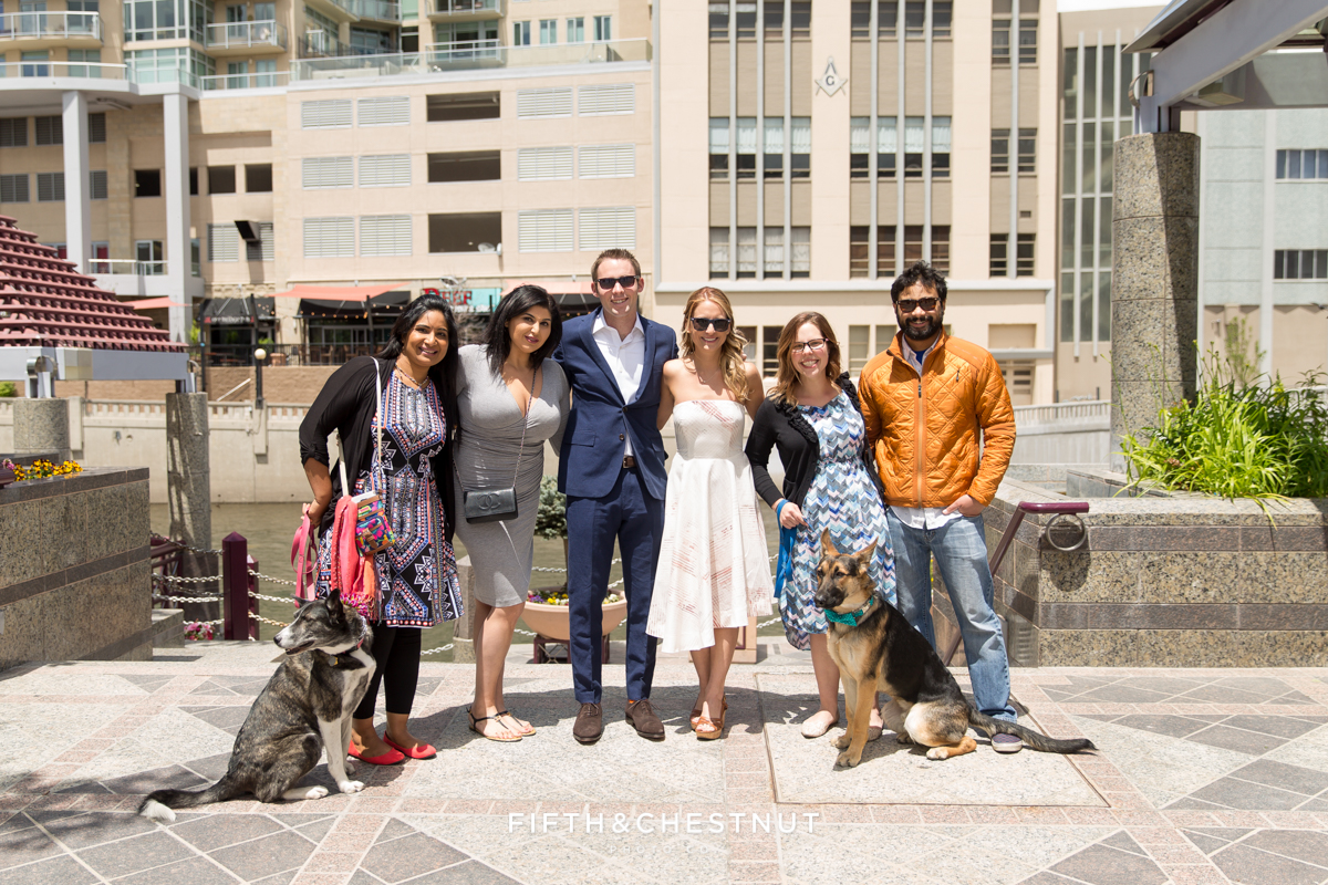 Formal Portraits with friends before a Downtown Reno elopement by Reno Wedding Photographer
