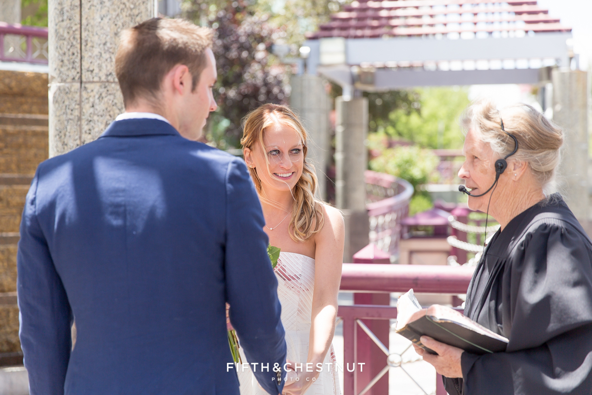 Ceremony of a Downtown Reno elopement by Reno Wedding Photographer