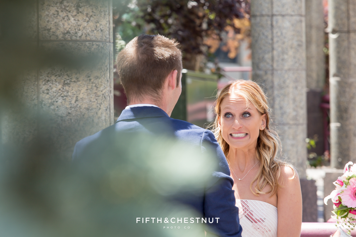 Before the bride says I do at her Downtown Reno elopement by Reno Wedding Photographer