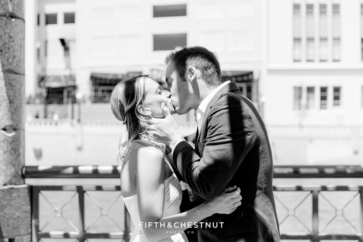 The kiss at a Downtown Reno elopement by Reno Wedding Photographer