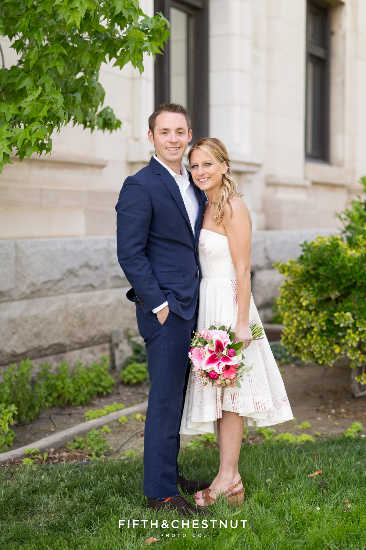 Bride and groom portrait during their Downtown Reno elopement by Reno Wedding Photographer