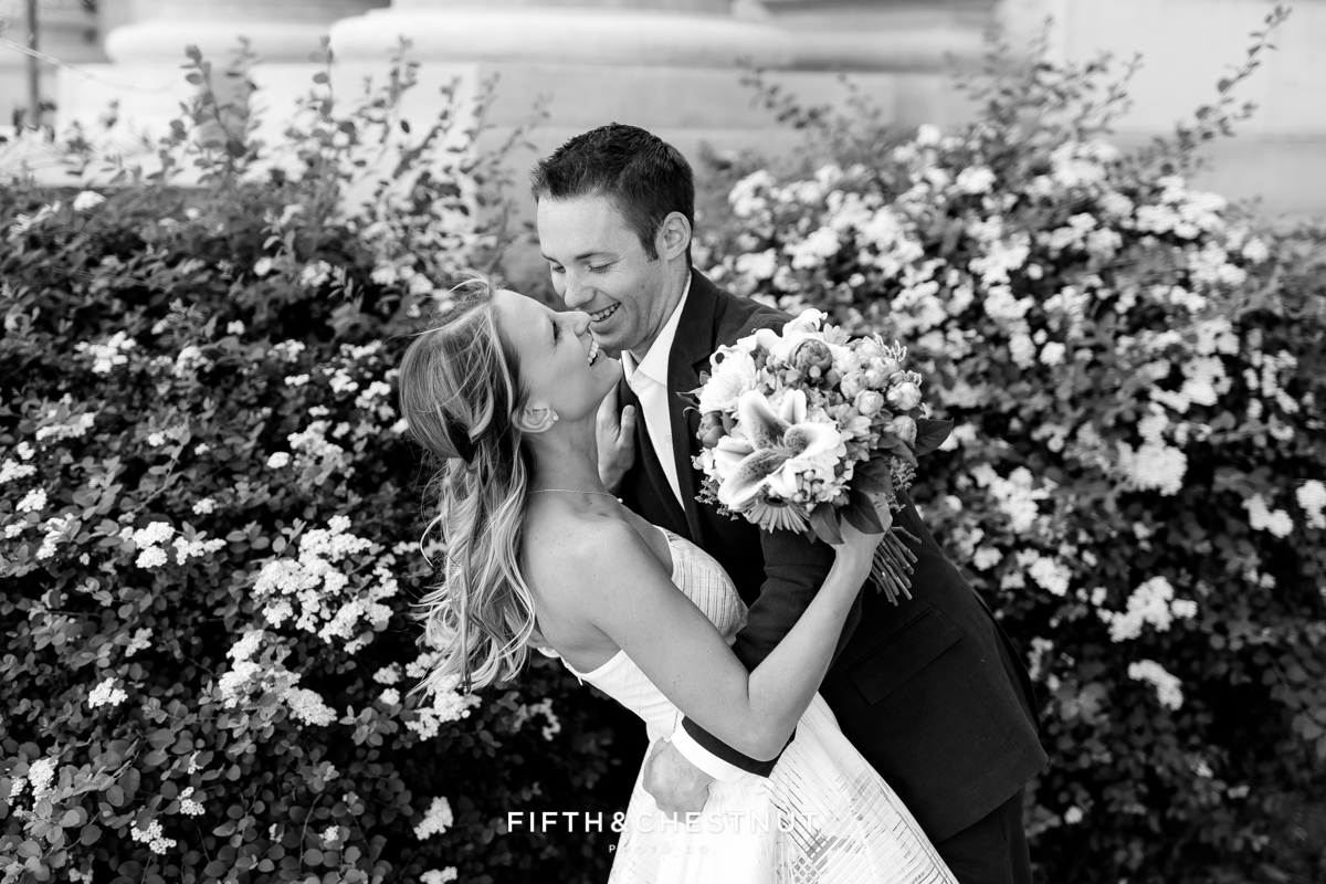Black and white photo of the bride and groom during a Reno Elopement