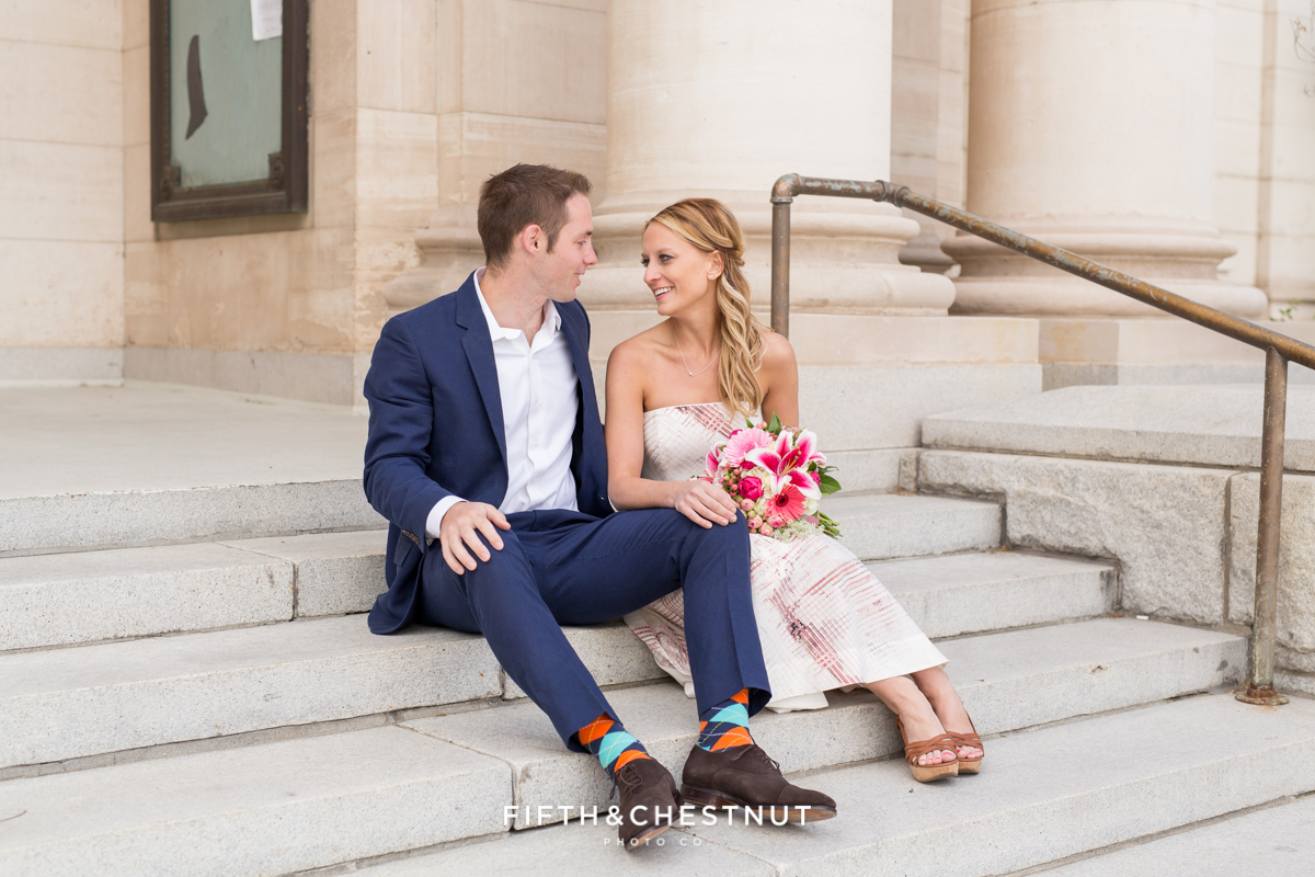 Bride and groom portrait at the courthouse in Reno for their downtown Elopement