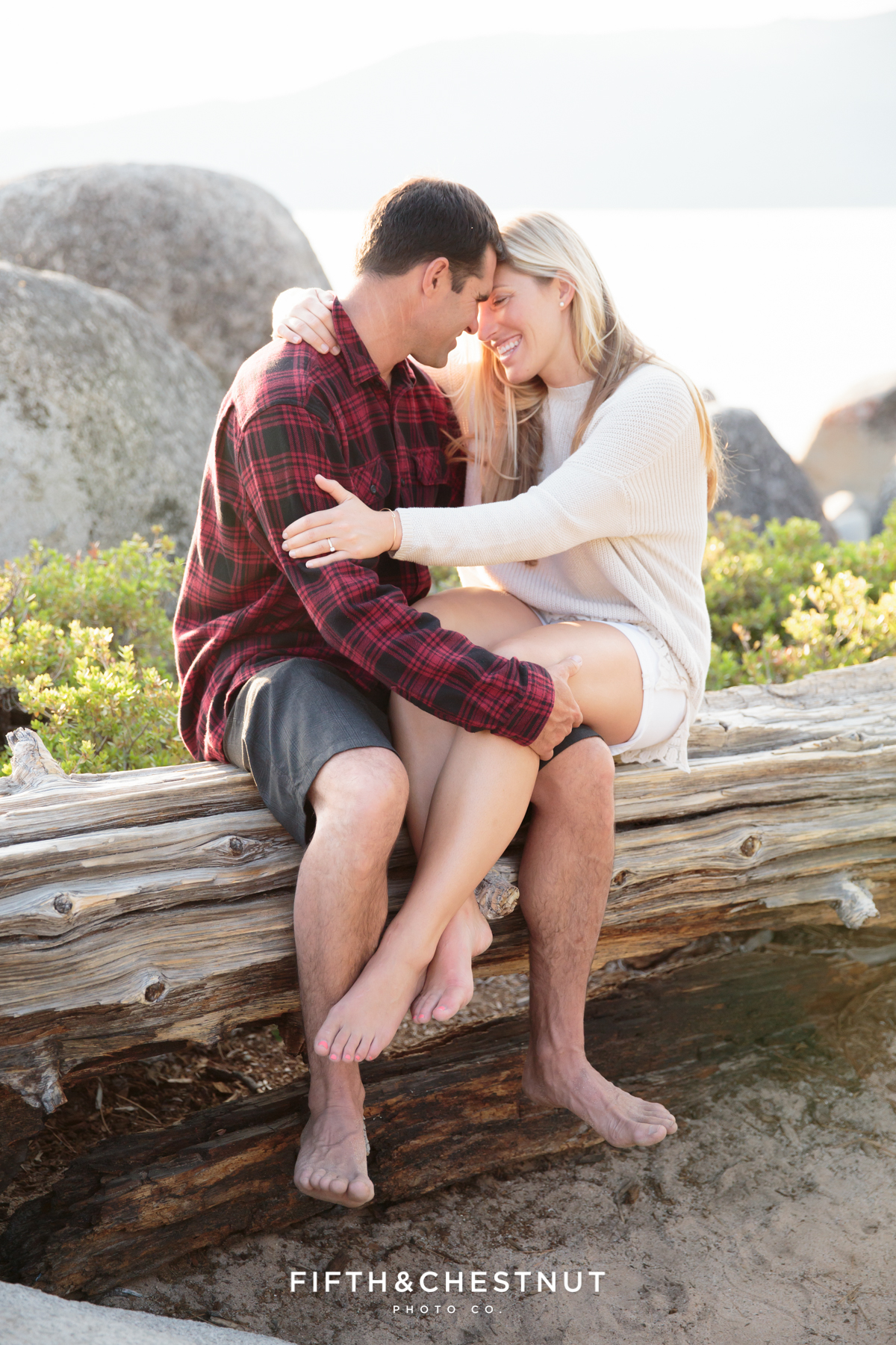 Portraits of engagement couple at Sand Harbor in Incline by Lake Tahoe Wedding Photographer
