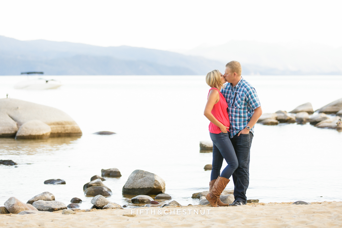 Speedboat Beach Portraits of romantic engagement in Lake Tahoe by Lake Tahoe Wedding Photographer