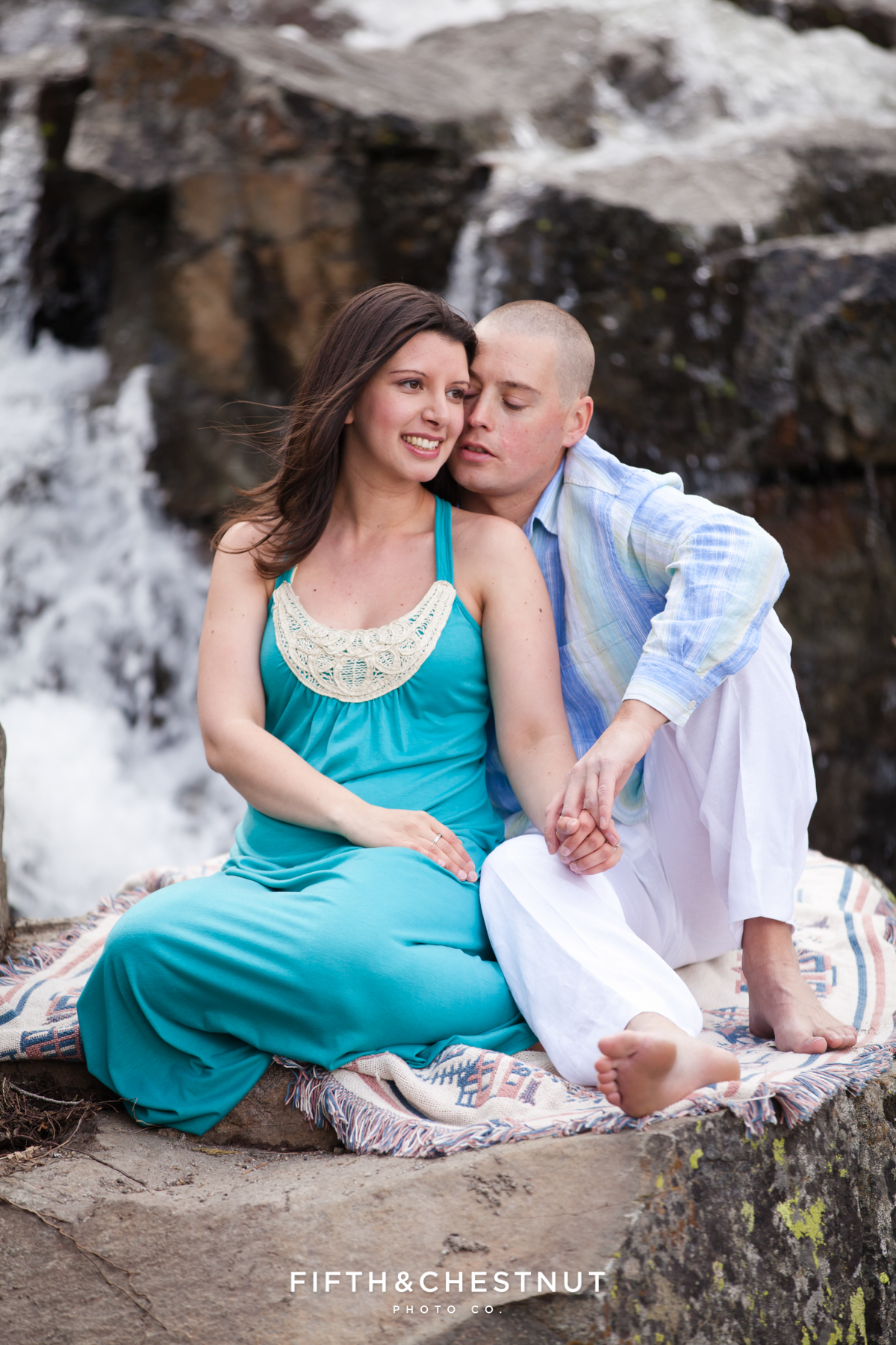 Eagle Falls Portraits of engaged couple in Spring by Lake Tahoe Wedding Photographer