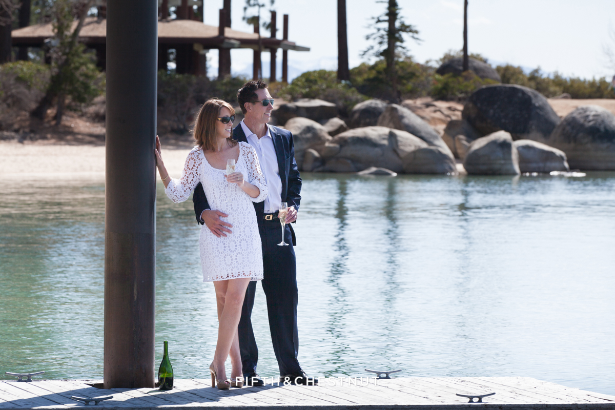 Elegant Lake Tahoe Engagement Photo at Sand Harbor by Lake Tahoe Wedding Photographer