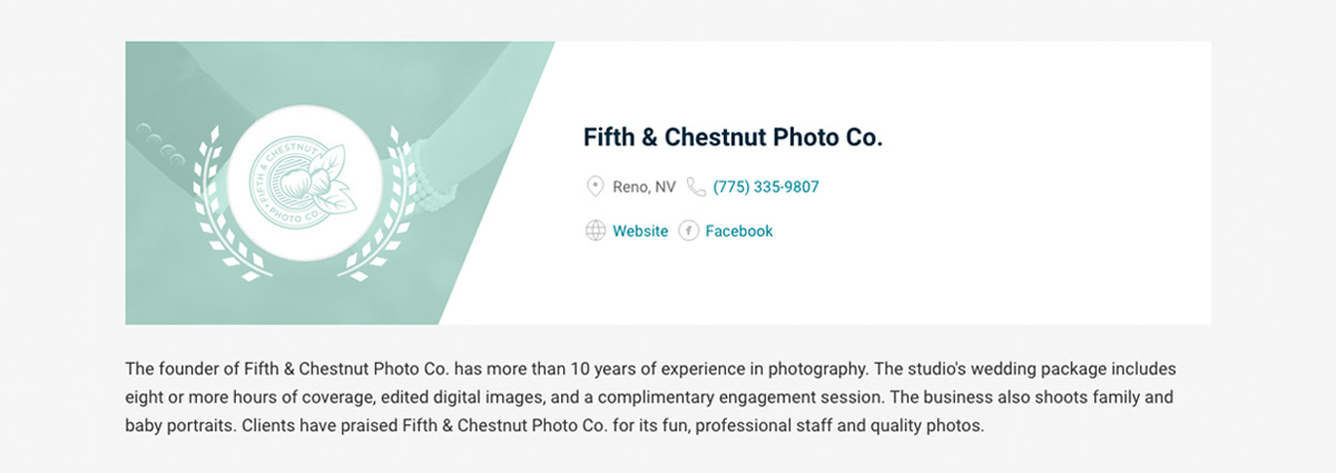 Fifth and Chestnut ranked in the top 20 of best wedding photographers in Reno