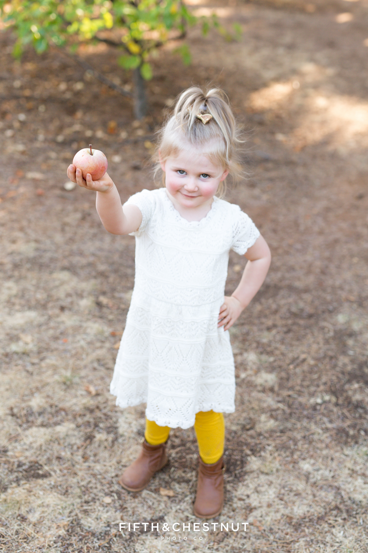 Apple Hill Portrait of little girl holding an apple by Reno Family Photographer