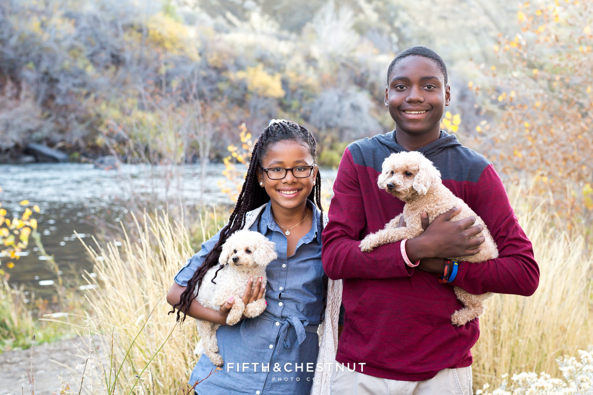Cute fall family portrait of siblings and dogs at Mayberry Park in Reno by Reno Family Photographer