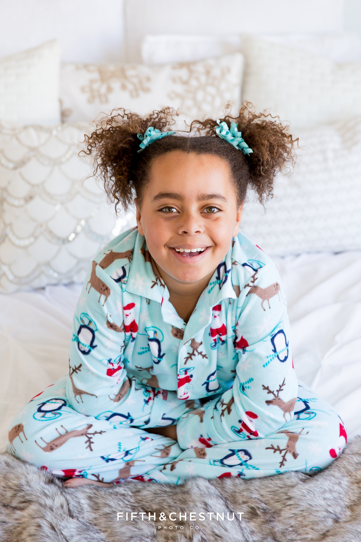 Reno Holiday Portraits with pajamas of Miss C by Reno Portrait Photographer