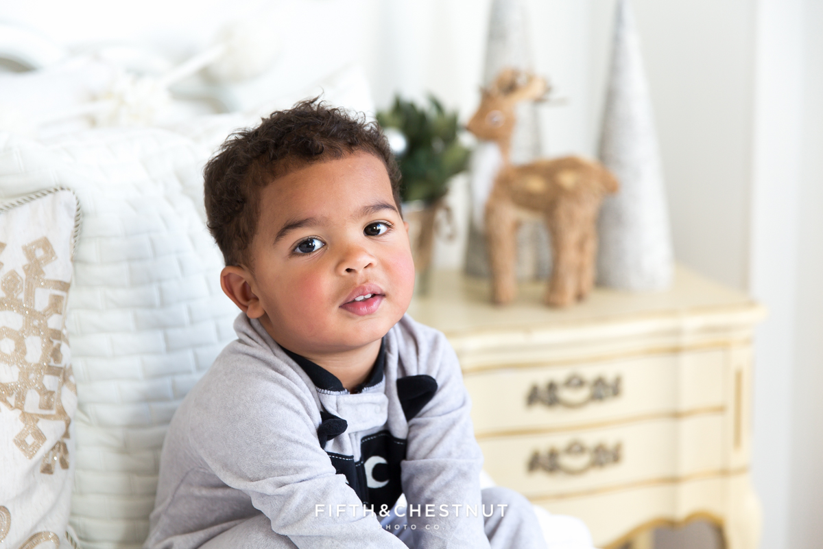 Winter Holiday Pajama Portraits by Reno Child Portrait Photographer in Studio