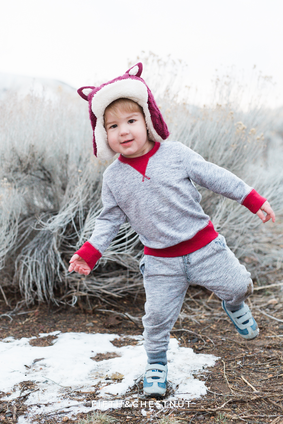 Winter Portraits of Little Boy at Hidden Valley Regional Park by Reno Child Photographer