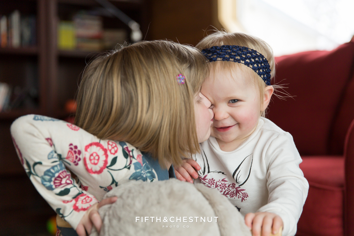 Winter Family Portrait of siblings by Reno Family Photographer