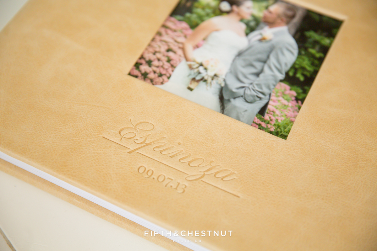 Custom debossing on a wedding album