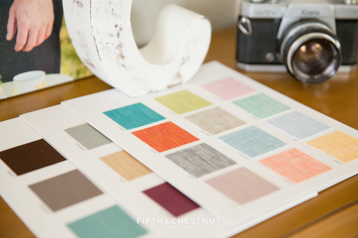 lake tahoe wedding photographer album linen swatches