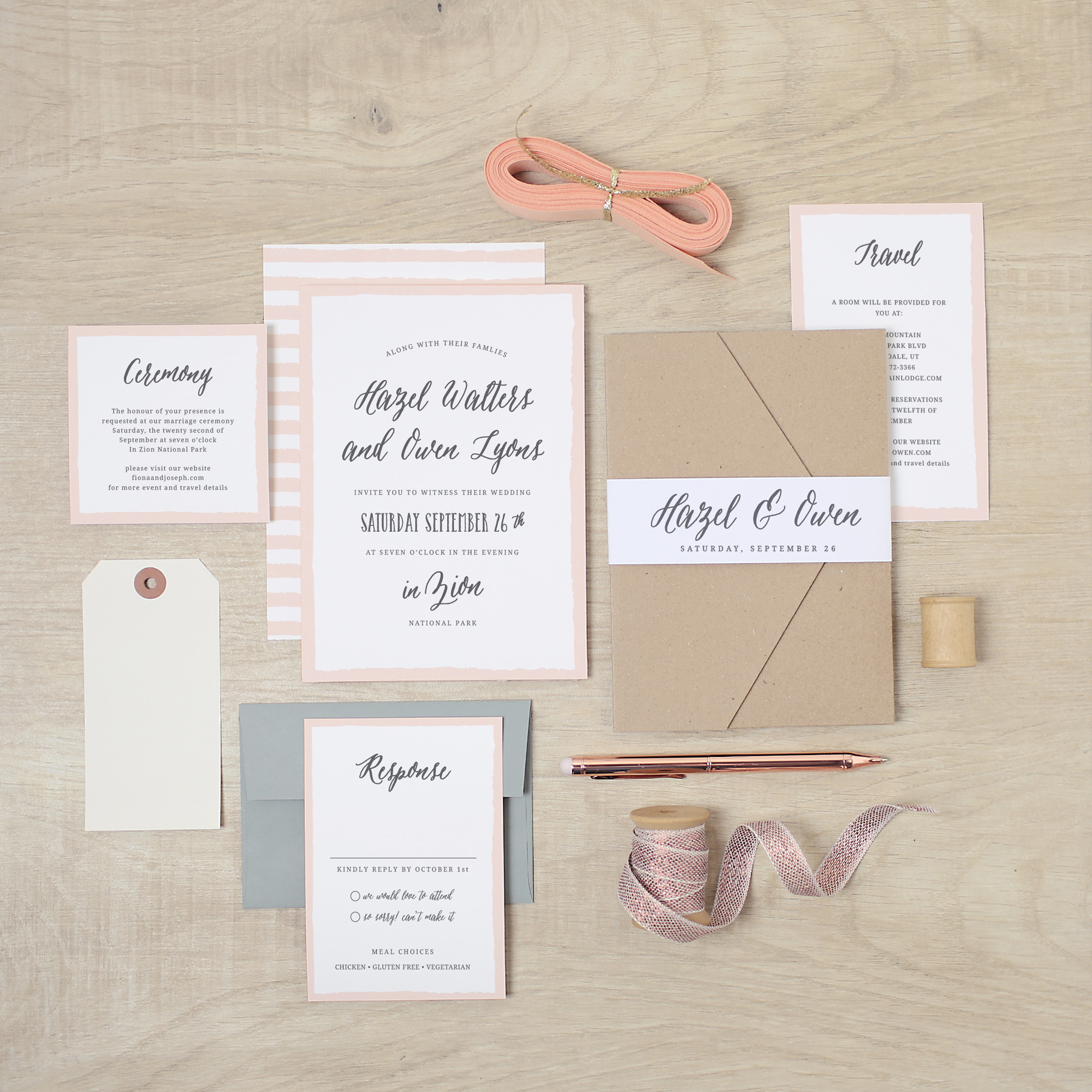 romantic and simple striped wedding invitations with kraft envelopes by Basic Invite