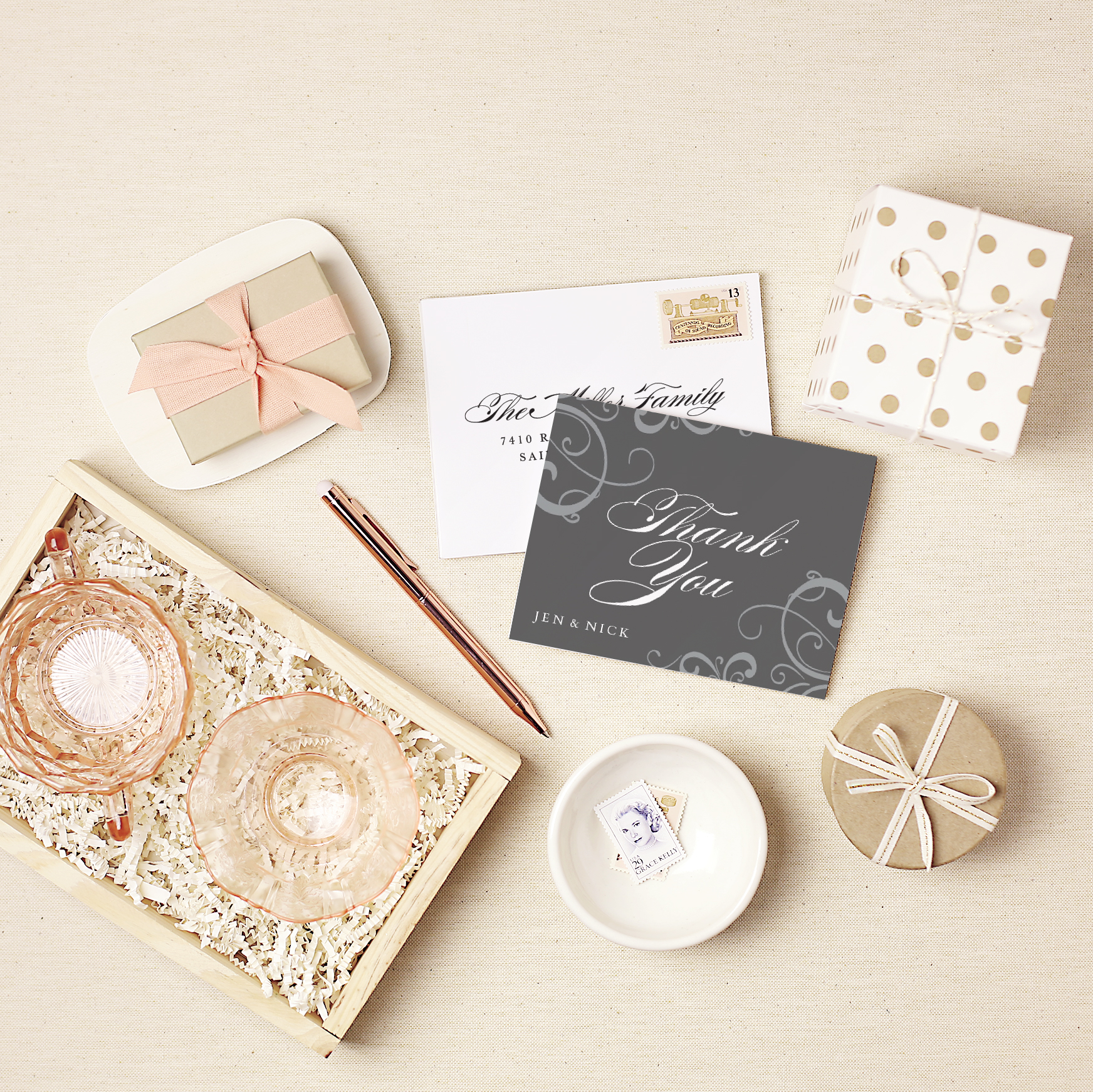 elegant and simple thank you cards and envelopes available at Basic Invite