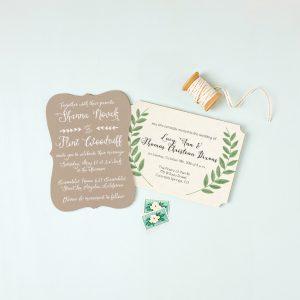 Kraft and natural ornate wedding invitation by Basic Invite