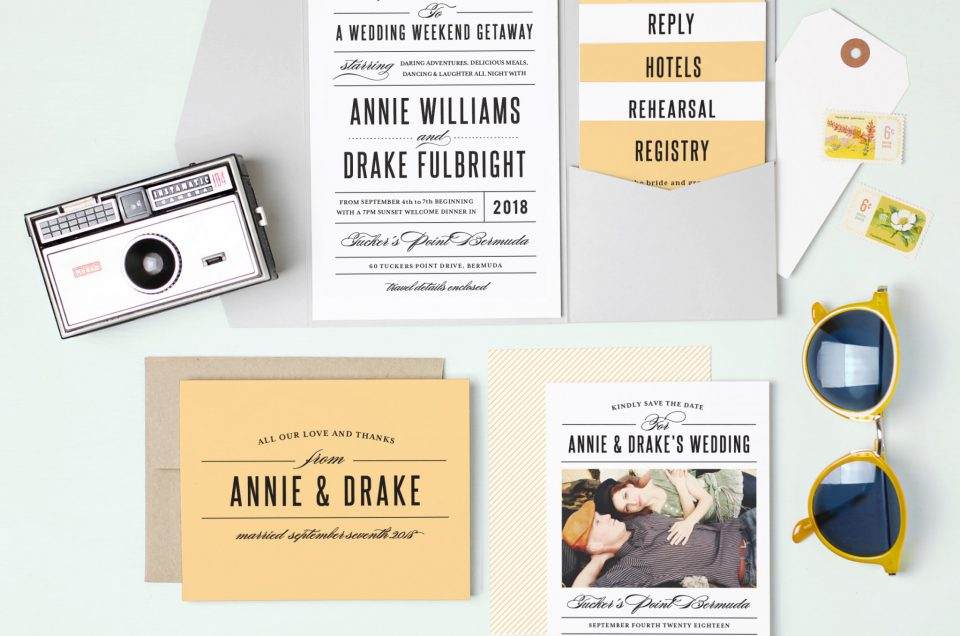 Modern and hip yellow Wedding Invitation Suite by Basic Invite Featured on Lake Tahoe Wedding Photogapher Blog