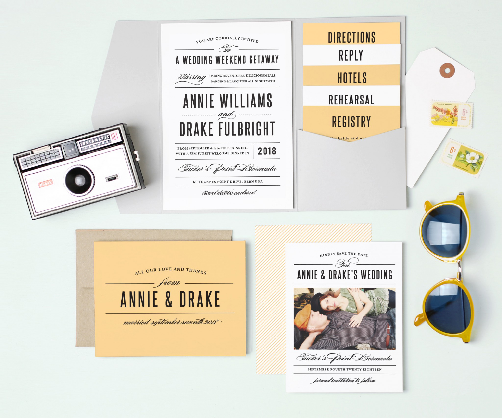 Modern and hip yellow Wedding Invitations Suite by Basic Invite Featured on Lake Tahoe Wedding Photogapher Blog