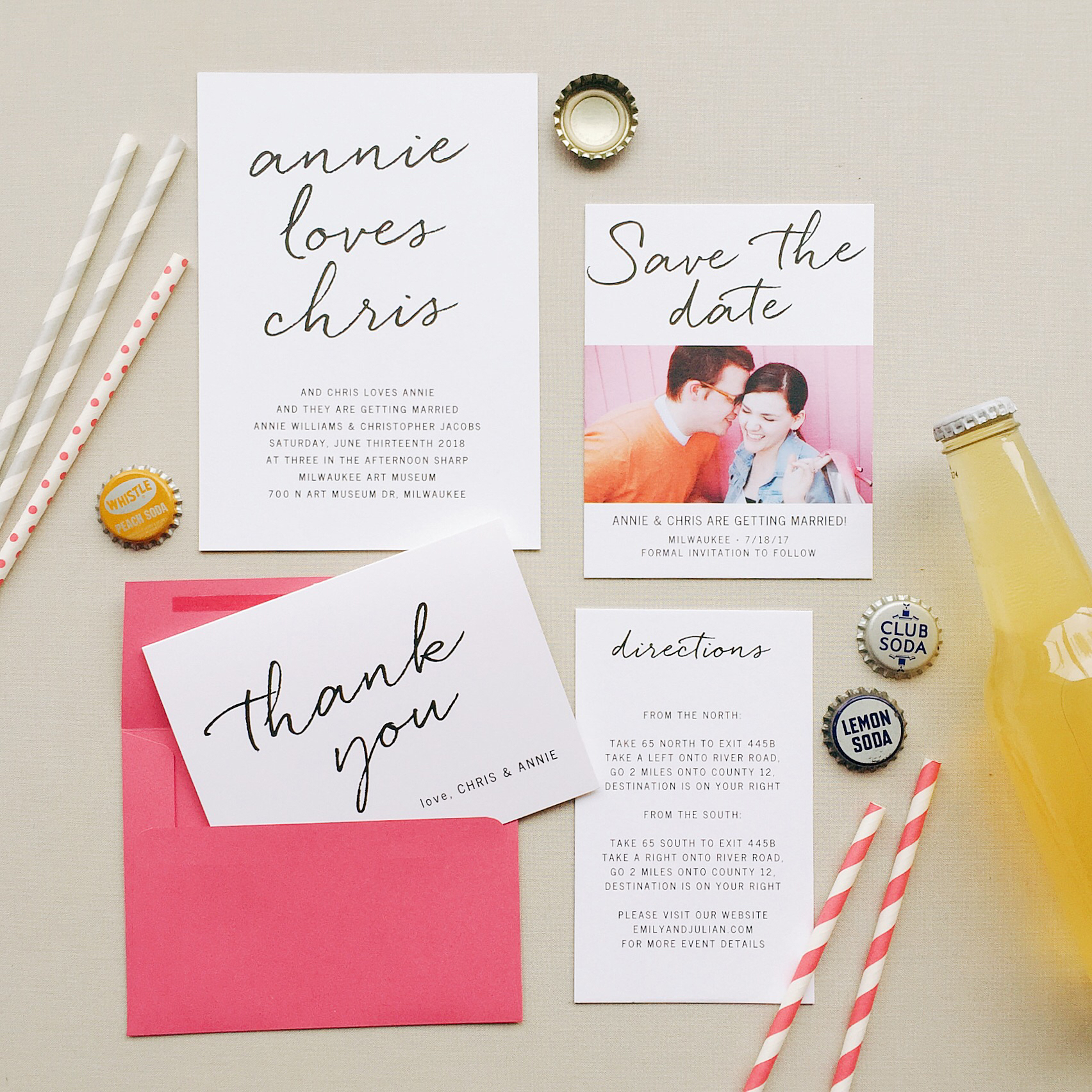 fun and modern weding invitations with photo save the date cards