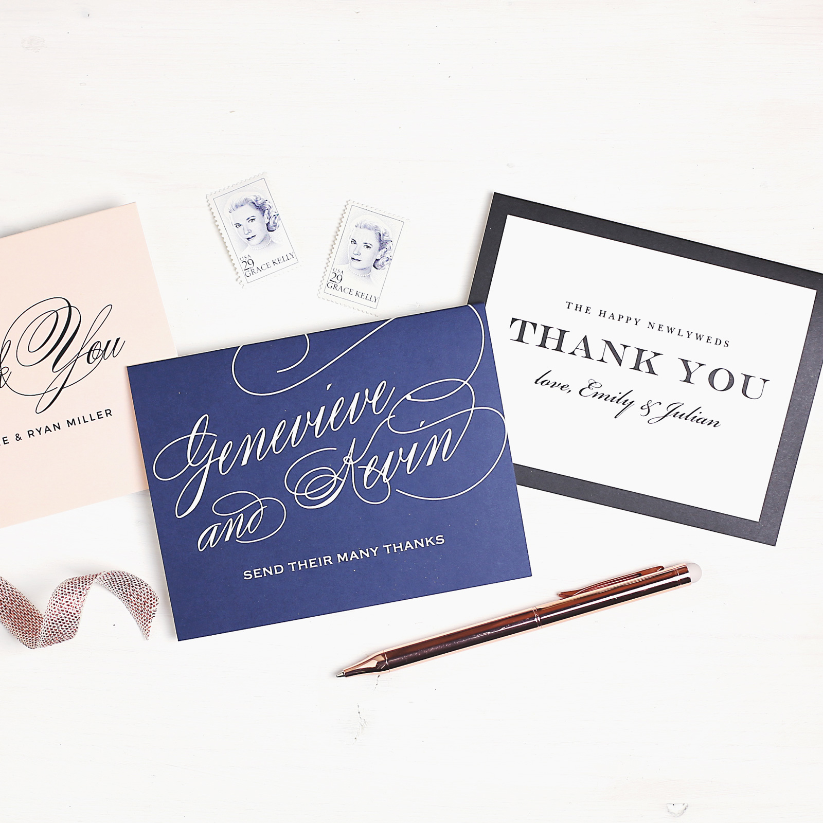 Wedding Thank You Note Cards in blue, blush and white