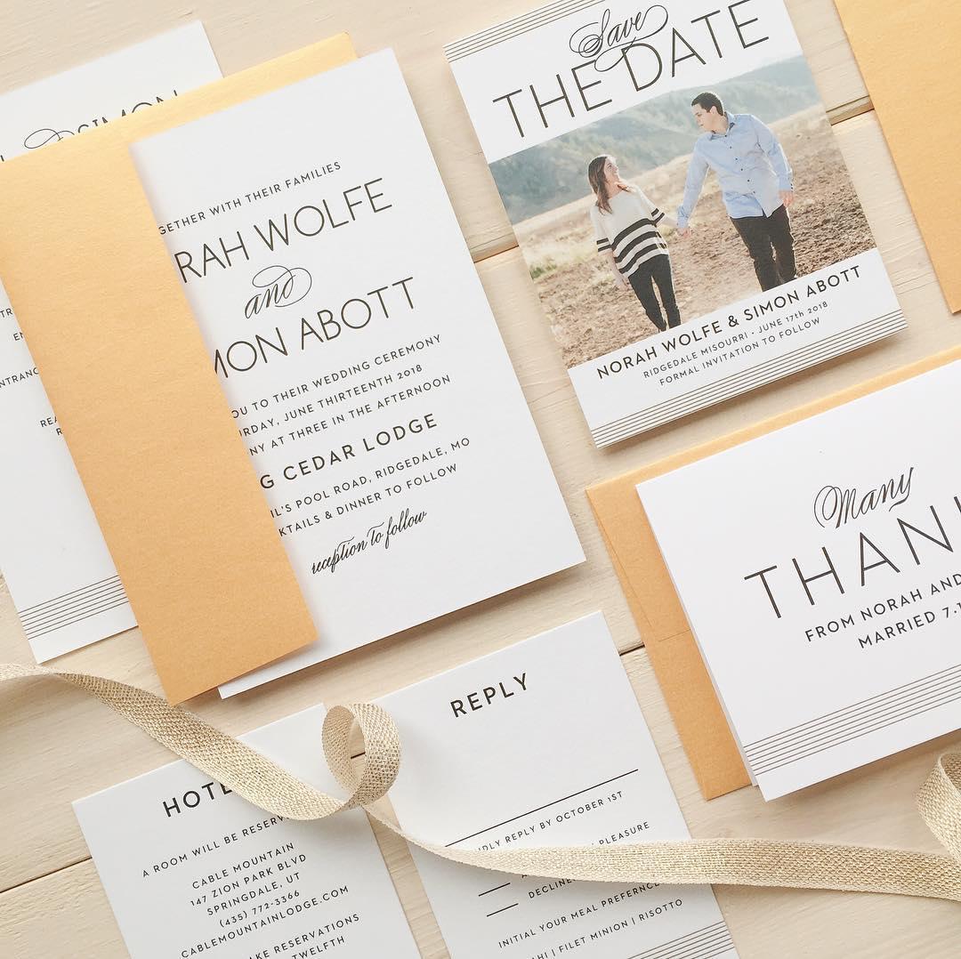 Fun yellow wedding invitations by Basic Invite