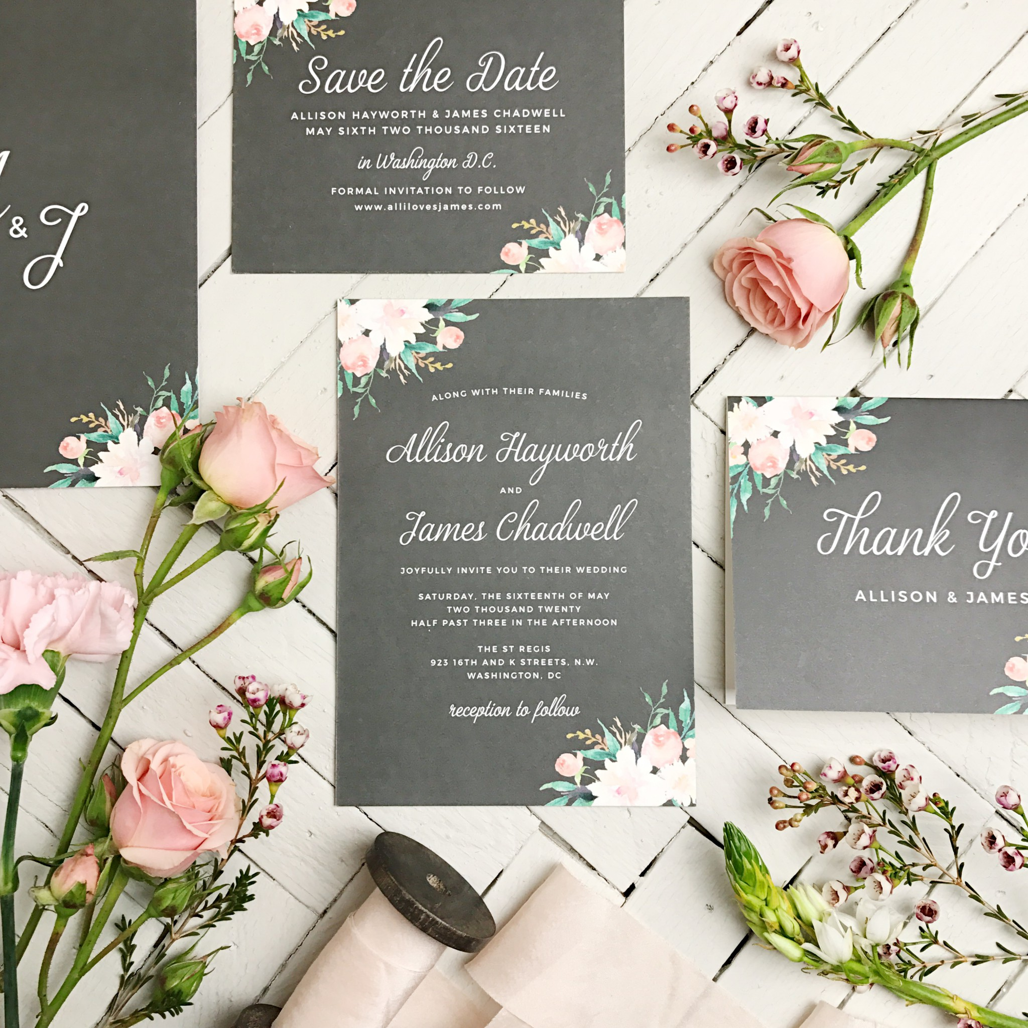 chalk and floral wedding invitations with save the date and thank you cards