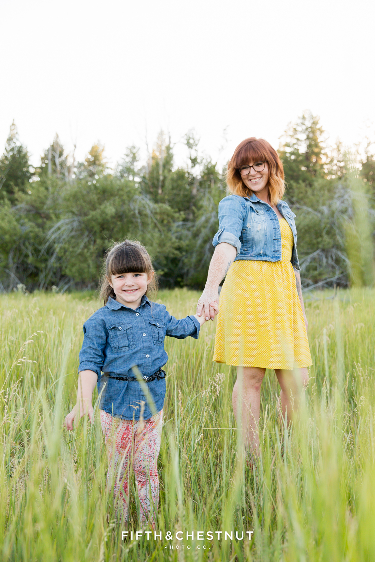 Reno mommy and me portrait of little girl and mom in a field by Reno Family Photographer