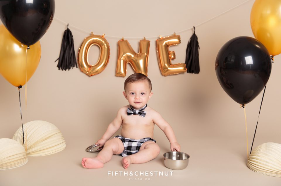 One Year Spaghetti Smash Baby Portraits by Reno Baby Photographer