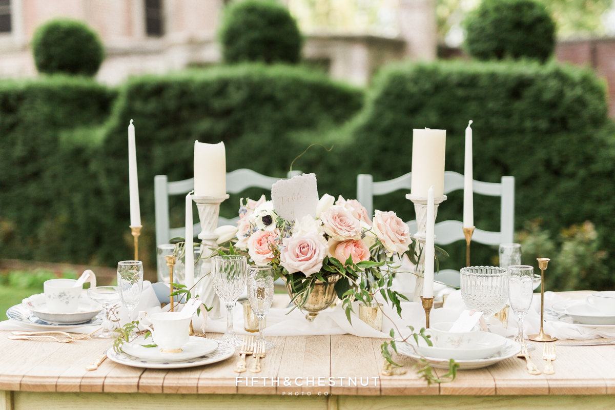 Up close shot of country french wedding centerpiece in a private estate garden in Reno, NV