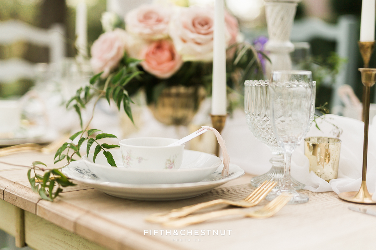 Gold table setting for a Dusty Blue Private Estate Country French Wedding Styled Shoot