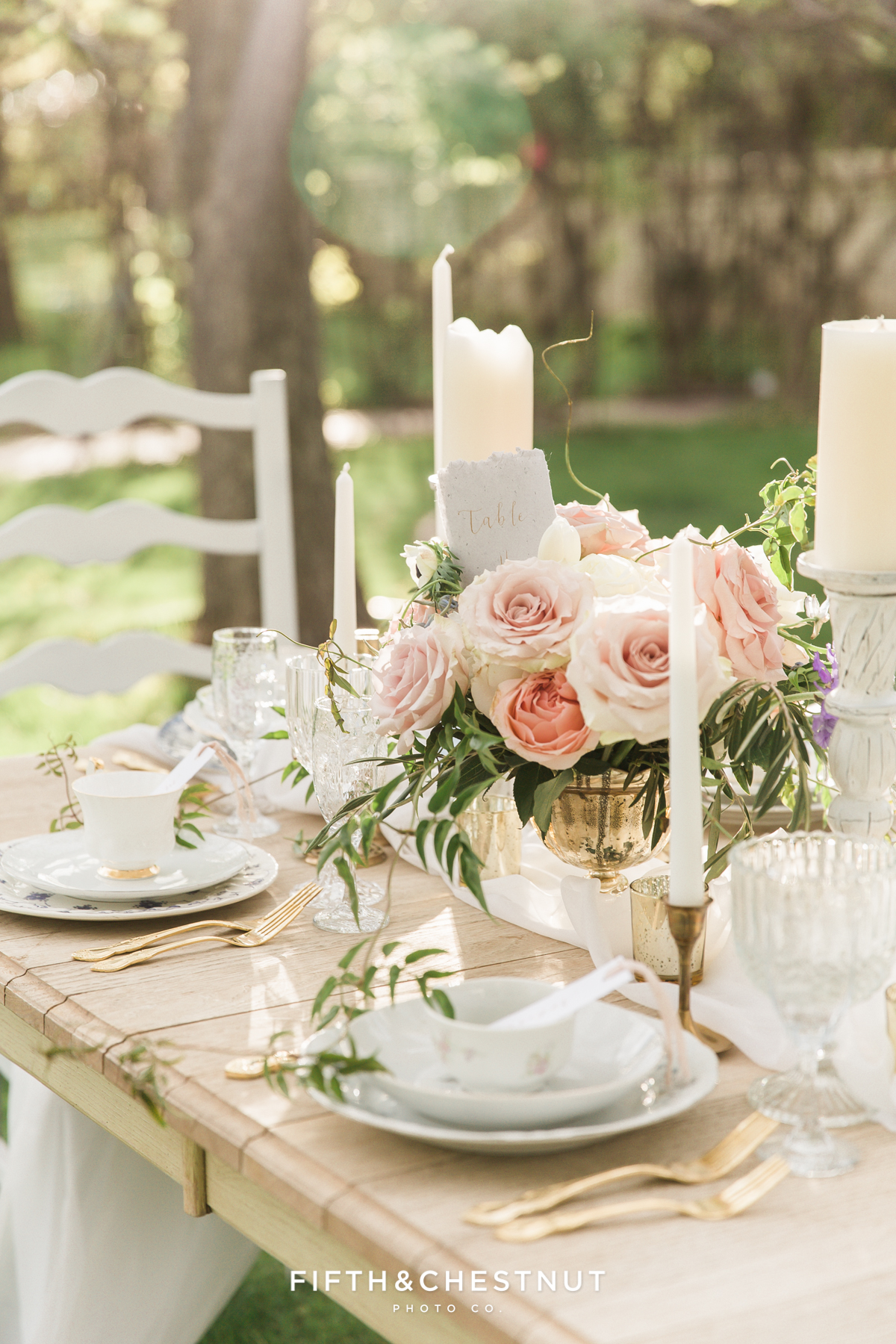 lovely tablescape details at a Dusty Blue Private Estate Country French Wedding Styled Shoot