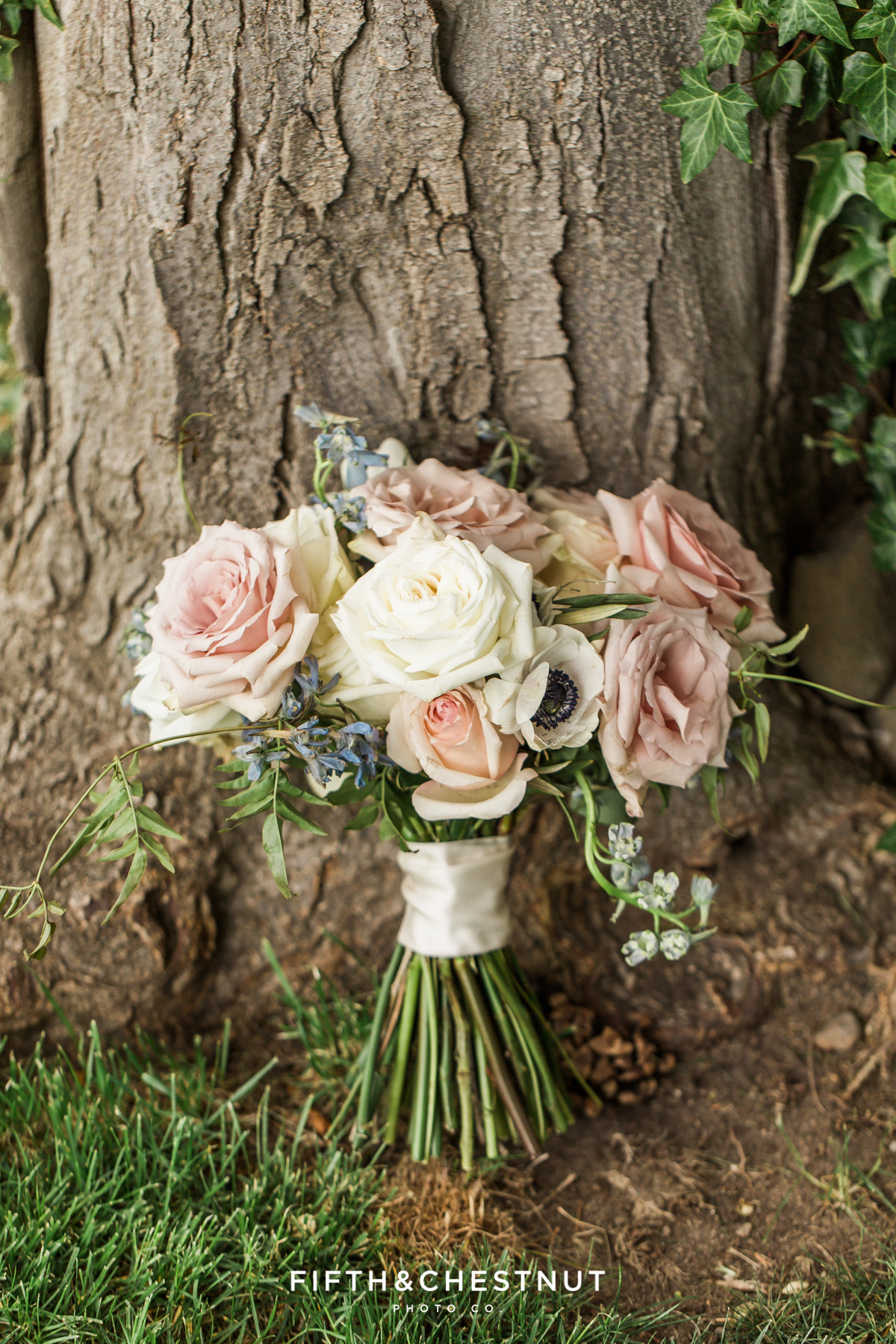Country french wedding bouquet at a private estate by Aster and Ash