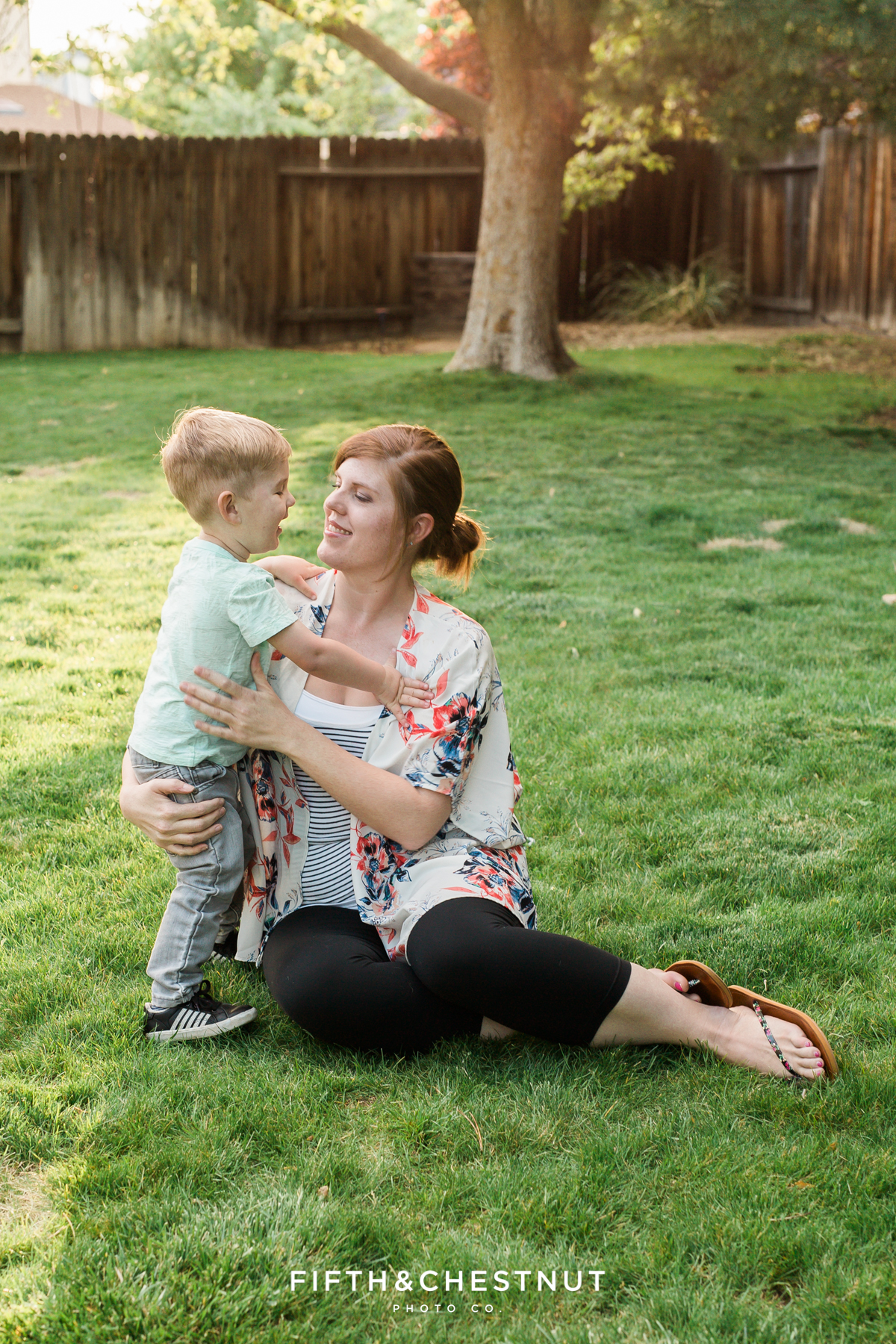 Mommy and Me photo of Reno Family Photographer and her toddler son on a spring day