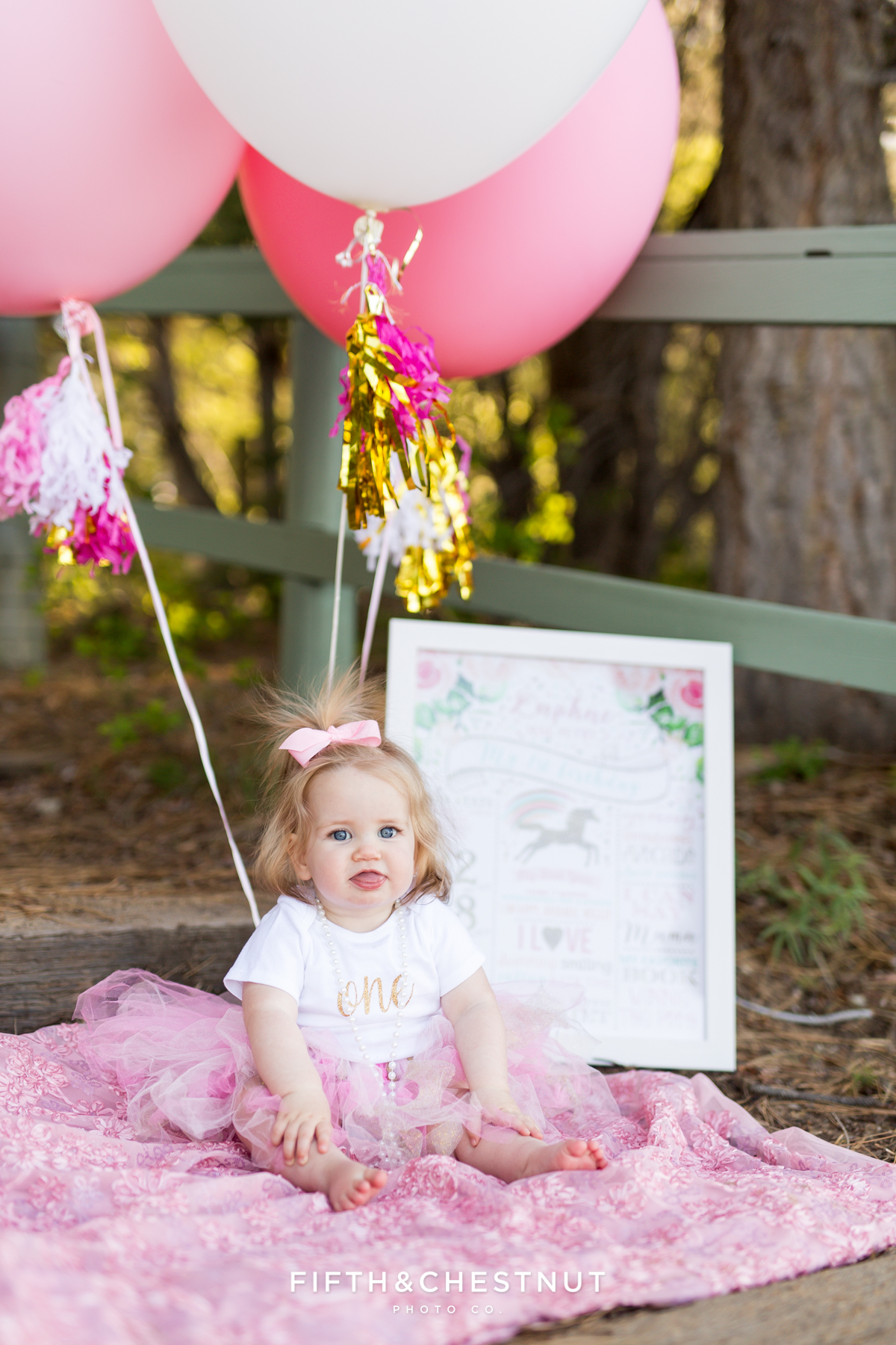 One year photos of baby girl at Kiva Beach with pink balloons and sign