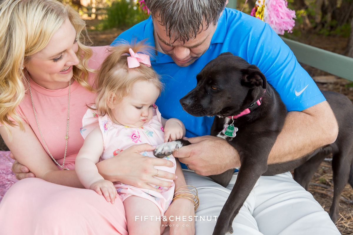 Family portrait at Kiva Beach by Lake Tahoe Family Photographer featuring a one year old girl and a dog