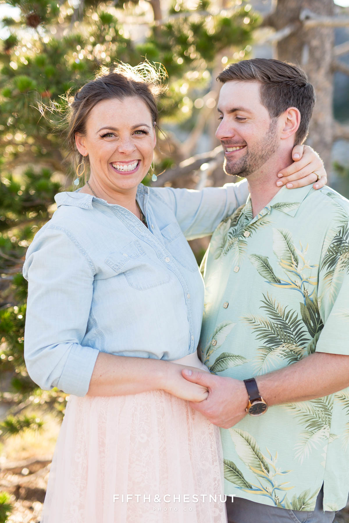 Closeup portrait of bride and groom to be during their Donner Lake Engagement session