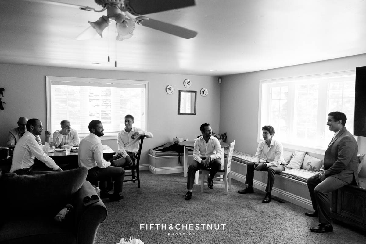 Groom and groomsmen chill before groom's North Lake Tahoe Wedding