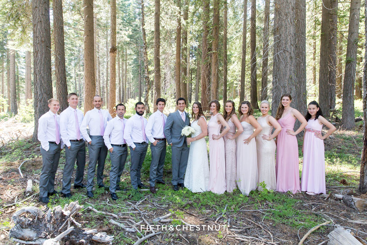 Beautifully dressed wedding party poses for a North Lake Tahoe Wedding portrait