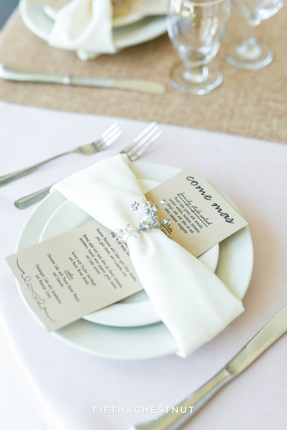 closeup of custom place settings for a North Lake Tahoe Wedding